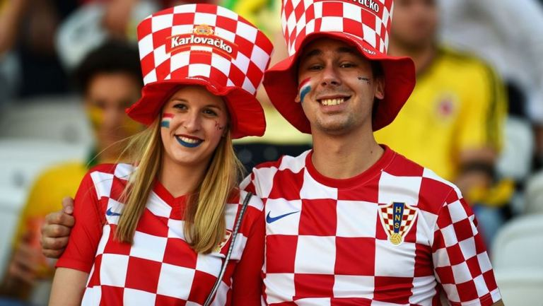 Croatia fans pose before the 2014 FIFA World Cup Brazil Group A match between Brazil and Croatia at Arena de Sao Paulo on June 12, 2014 in Sao Paulo, Brazil.